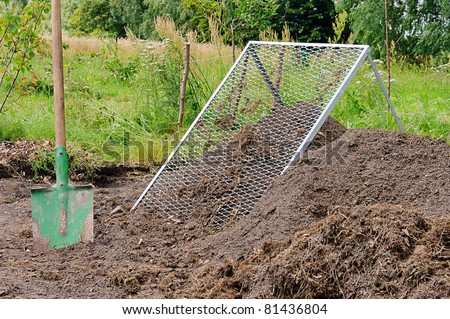 compost pile sieve - stock photo