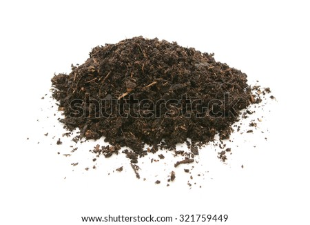 Compost, soil or dirt in a heap, isolated on a white background