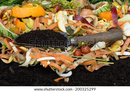 Compost with composted soil - stock photo