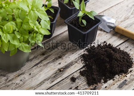Compost with plants and trowel - stock photo