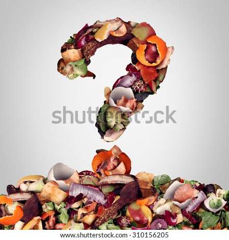 Composting questions as a compost pile of rotting kitchen fruits egg shells and vegetable food scraps shaped as a question mark as organic waste for recycling as an environmentally responsible icon. - stock photo