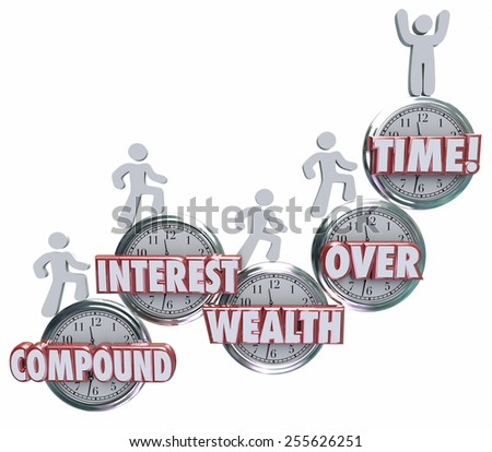Compound Interest Wealth Over Time words on clocks and investors growing wealth by saving or investing income and earnings  - stock photo