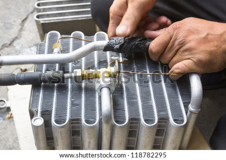Compressed air car components to be repaired - stock photo