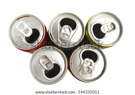 Compressed aluminium can close up on white - stock photo