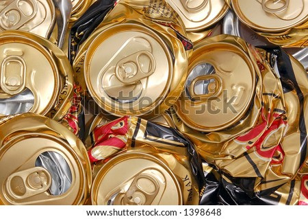 Compressed beer can background - stock photo
