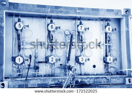 Compressed natural gas vehicle control equipment, closeup of photo - stock photo