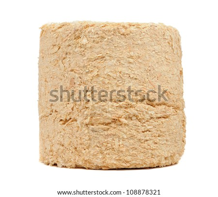 Compressed Sawdust Fire Log Isolated on White Background - stock photo