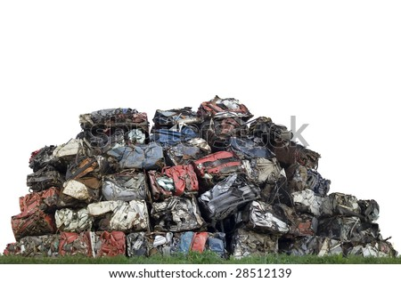 Compressed stacked cars with space for text - stock photo