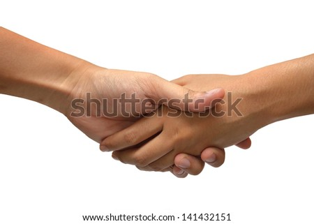 Compromise deal handshake caucasian hand composition isolated over white background