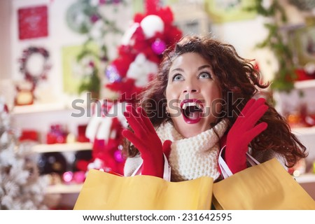 compulsive shopping before Christmas - stock photo