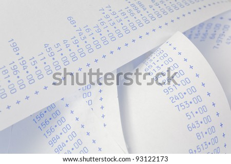 computationally strips with numbers. symbol for costs, expenses, revenues and profits. - stock photo