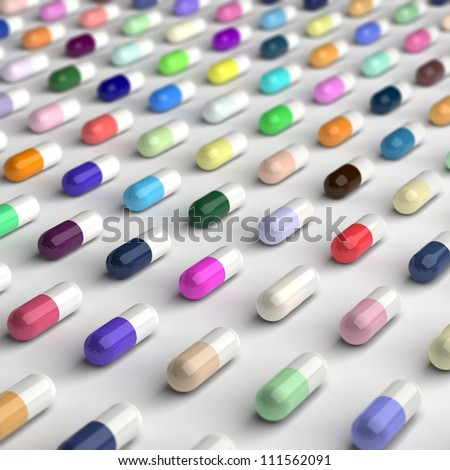 Computed generated image of colorful pills. - stock photo
