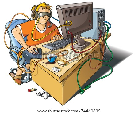 Computer addiction: young man immersed himself in virtual world, merged with computer, raster from vector illustration - stock photo