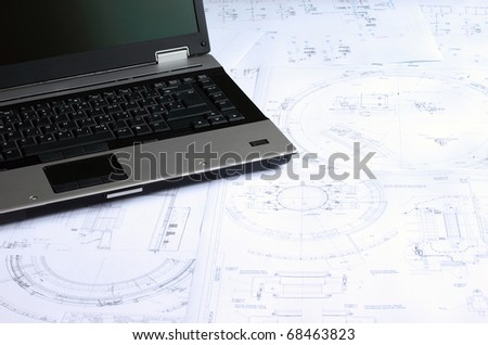Computer aided design of mechanical engineering drawings. - stock photo