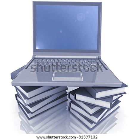 computer and books on the white background - stock photo