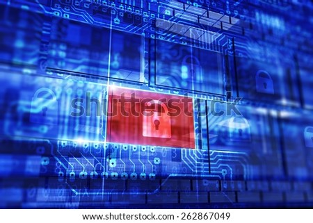 Computer and Data Security Concept 3D Illustration. Backdoor Detection Concept. Digital Security  Technologies - stock photo
