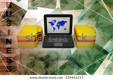 Computer and folder network - stock photo