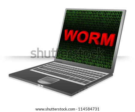 Computer And Internet Security Concept Present by Computer Laptop With Red 3D Worm Text In Green Binary Code Screen - stock photo