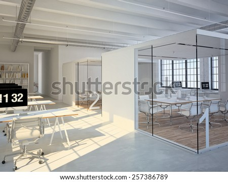 Computer and notebook on the working place in the office. 3d rendering - stock photo