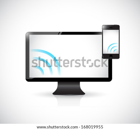 computer and phone with wifi signal. illustration design over a white background - stock photo