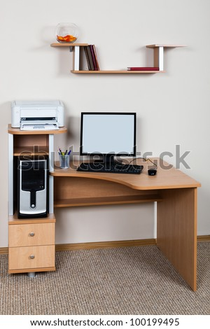 computer and printer on the desk in the office - stock photo