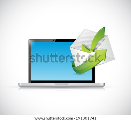 computer and protection selection approve shield illustration design over a white background - stock photo