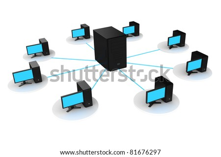 computer and server connected
