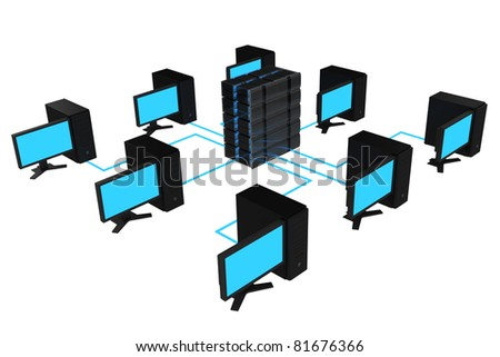 computer and server connected - stock photo