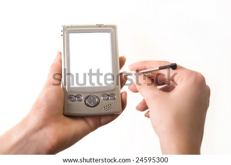 computer and stylus in hand, the screen alone for your convenience - stock photo