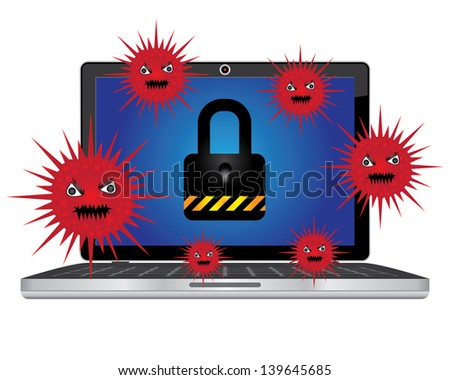 Computer Antivirus Concept Present By Computer Laptop or Computer Notebook With Red Virus  and The Key Lock on Screen Isolated on White Background - stock photo