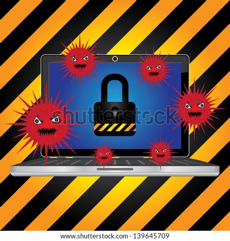 Computer Antivirus Concept Present By Computer Laptop or Computer Notebook With Red Virus  and The Key Lock on Screen in Caution Zone Dark and Yellow Background - stock photo