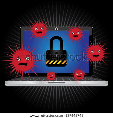 Computer Antivirus Concept Present By Computer Laptop or Computer Notebook With Red Virus  and The Key Lock on Screen in Dark Shiny Background - stock photo