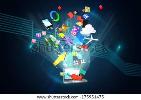 Computer applications against dollar sign on futuristic background