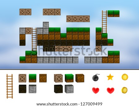 Computer arcade game level. Cubes, ladder, icons. - stock photo