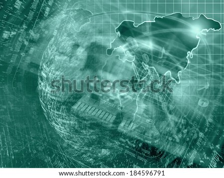 Computer background in greens with electronic device, map and digits. - stock photo