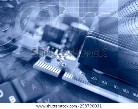 Computer background with electronic device, map and keyboard, blue toned. - stock photo