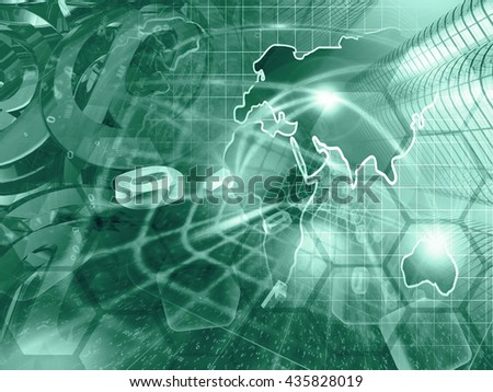 Computer background with map, buildings and digits, in greens. - stock photo
