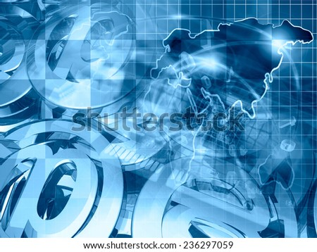 Computer background with map, device and mail signs, blue toned. - stock photo