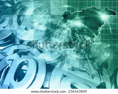 Computer background with map, device and mail signs, green and blue toned. - stock photo