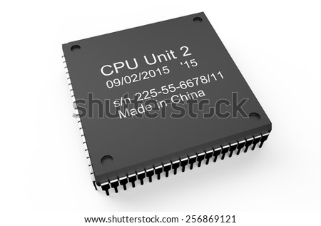 Computer black microchip isolated on white background - stock photo
