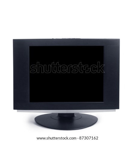 computer black screen isolated on white background