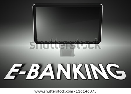 Computer blank screen with word E-banking, copyspace - stock photo