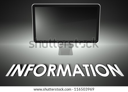 Computer blank screen with word Information, copyspace - stock photo