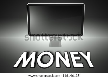 Computer blank screen with word Money, copyspace - stock photo