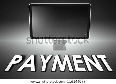 Computer blank screen with word Payment, copyspace - stock photo
