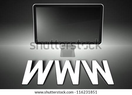 Computer blank screen with word WWW, copyspace - stock photo