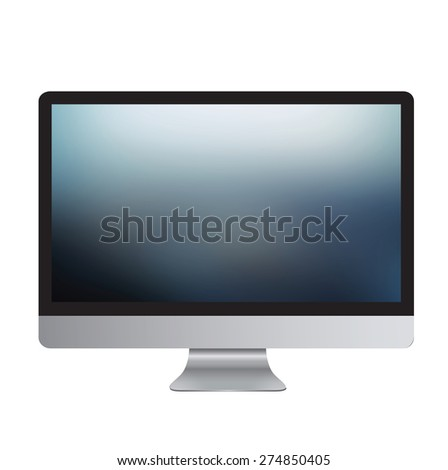 computer blur  screen display isolated on white background - stock photo