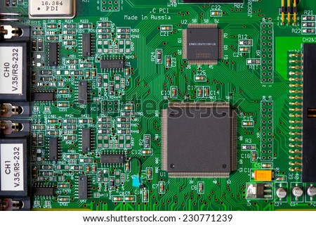 computer board with chips - stock photo