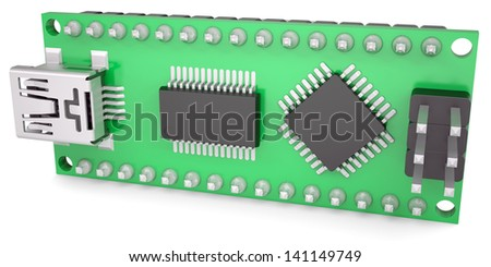 Computer board with chips and USB output. Isolated render on a white background - stock photo