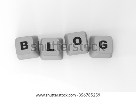 Computer buttons Blog, isolated on white background, 3D illustration
